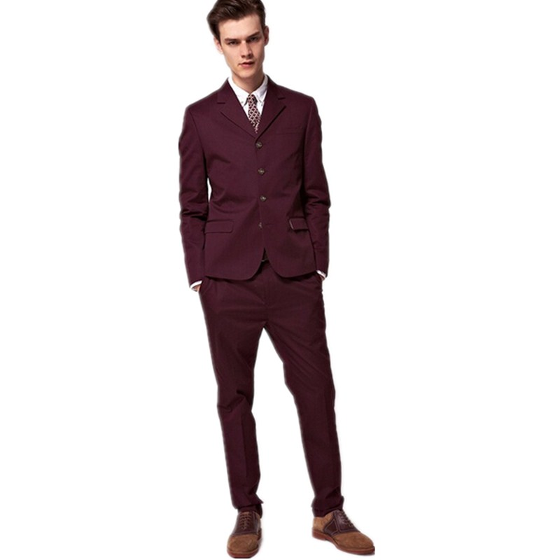 Men slim fit suits with pants burgundy suit custom made groom ...
