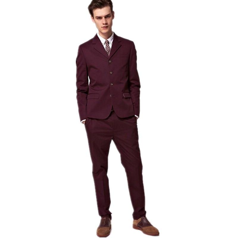 Burgundy Skinny Fit Suit - Hardon Clothes