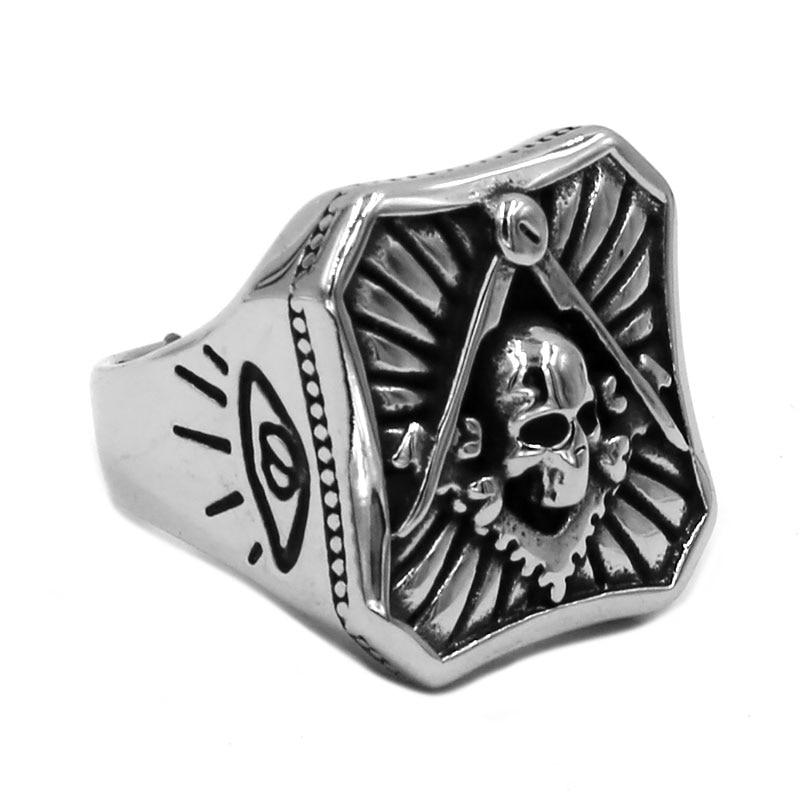 All Seeing Eye Skull Masonic Ring 316L Stainless Steel Jewelry Classic  Freemasonry Motor Biker Men