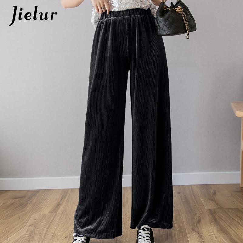 Jielur Summer   Wide     Leg     Pants   2019 New Fashion Long Leisure Harajuku   Pants   Women Black Pure Color Pantalon Mujer Pantalon Femme