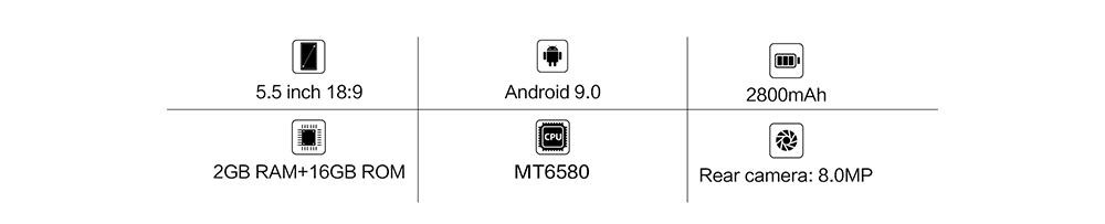 "Cubot J5 Smartphone Android 9.0 Telephone 5.5"" 18:9 Full Screen MT6580 Quad-Core 2GB RAM 16GB ROM Phone Dual SIM Card 2800mAh 3G"