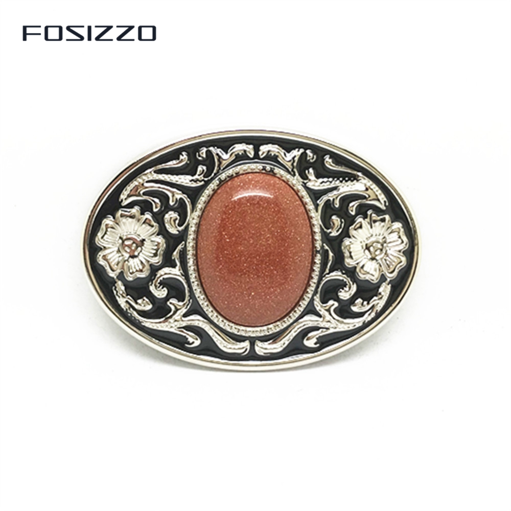 FOSIZZO Smooth Buckle Inlaid Gemstone Belt Buckle Unisex Alloy Buckle