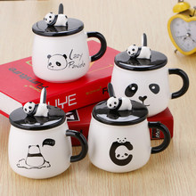 Cartoon Panda Ceramic Mug 3D Embossed Cup Lid With Spoon Coffee Milk Tea Cup For Home Office Student (Random Style,301-400ml)(China)