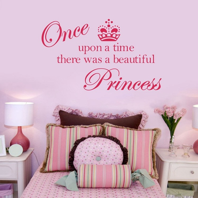 Sell On Ebay Free Shipping Crown Princess Vinyl Wall Decals Stickers, Princess Bedroom Decoration For