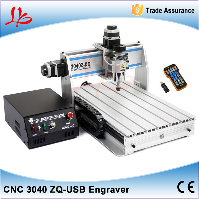 3 axis CNC router 3040 ZQ-USB metal carving machine 300W spindle, with ball screw and USB port remote controller russia no tax 1500w 5 axis cnc wood carving machine precision ball screw cnc router 3040 milling machine