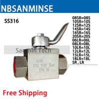 NBSANMINSE High Pressure Ball Valve Stainless Steel SS316 SR LR Thread Hydraulic Industrial Engineering Anticorrosion Valve
