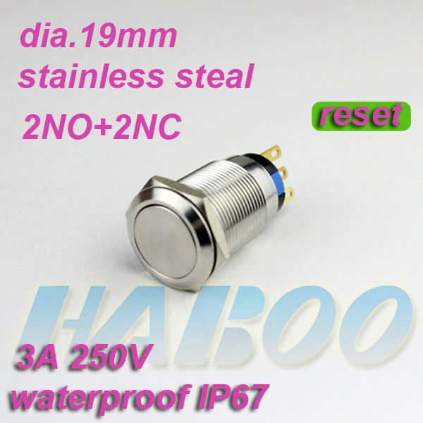 10pcs/lot waterproof IP67 HABOO dia.19mm anti-vandal reset momentary metal push button switch 2NO+2NC stainless steel 250V 3A