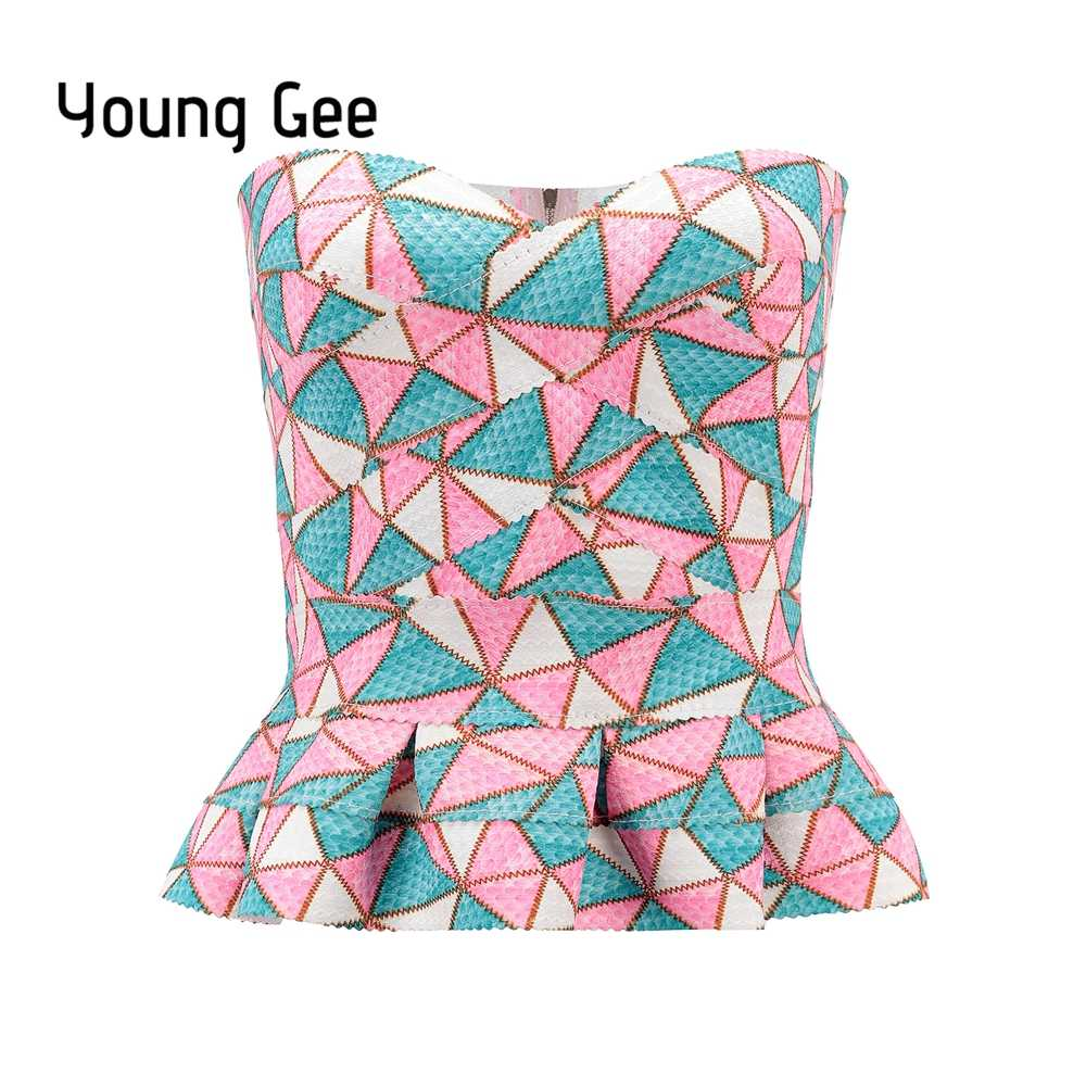 6ab74283d99 ... YoungGee Ruffle Strapless Crop Top Bandage Summer Short Geometric Print  Blusa Slim Camisole Tank Vest Female ...