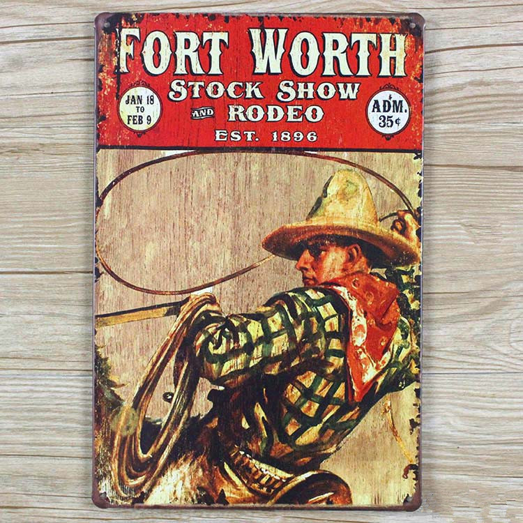 Fort worth stock show rodeo vintage metal painting tin sign bar pub fort worth stock show rodeo vintage metal painting tin sign bar pub wallpaper decor mural poster craft 20x30 cm in plaques signs from home garden on teraionfo