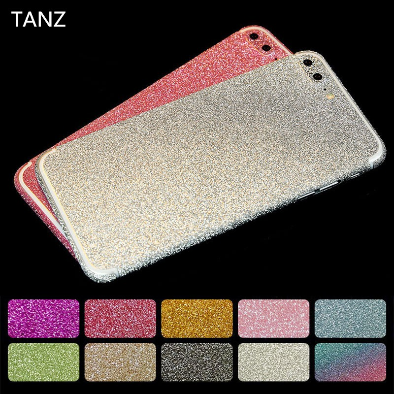 Luxury Bling 360 Degree Glitter Flash Mobile Phone Sticker For iPhone 6 6S plus 6Splus Candy Color Phone Skins Screen Protector