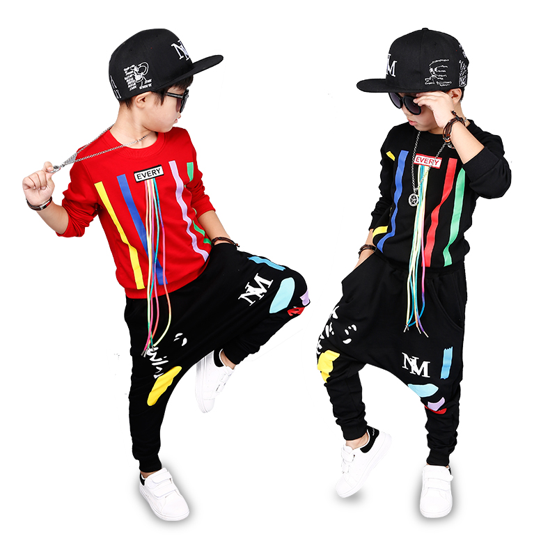 6 Bibihou new spring autumn kids clothes sets children 2 pcs Hip hop suit Shirt coat + Harem pants baby boys sport suits Color bar