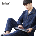 Gadpat Winter Men Pajamas Cotton Long - Sleeved Cotton Sandwich Thicker Autumn  Middle Men' S Cotton Youth Home Clothing Suits