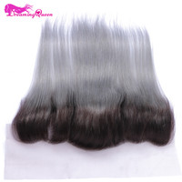 Dreaming Queen Hair 1b Grey Straight Hair Lace Frontals Closure Ombre Brazilian Hair 13x4 Closures 100