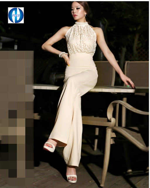 0ff833fa1a9 PIKB 2016 Fashion easy wind grace jumpsuits Halter Neck Lace stitching  Chiffon Strapless Jumpsuit wide leg