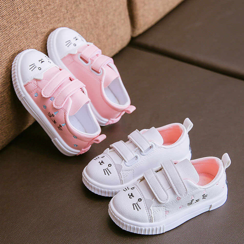 Children' Casual Shoes Children Kids Girls Autumn Patchwork Cartoon Cute Cat Print Sneaker Shoes For Girls Calzado casual nina
