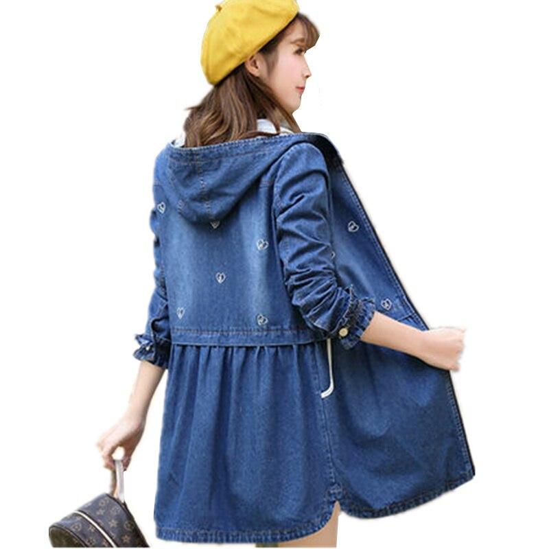 Women Vintage Denim   Trench   Coat 2017 New Autumn Winter Casual Waist Jean Hooded Medium Long Windbreaker Thicken Overcoat C67
