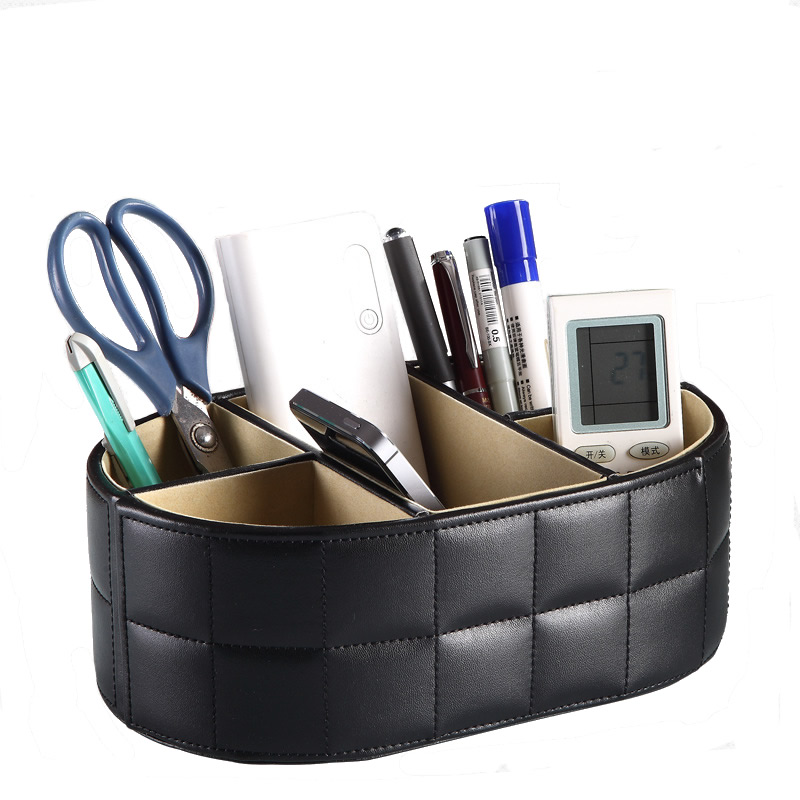 5-Slot PU Leather Pen Pencils Holder Remote Control Case Box Business Card Stand Desk Organizer Office Table