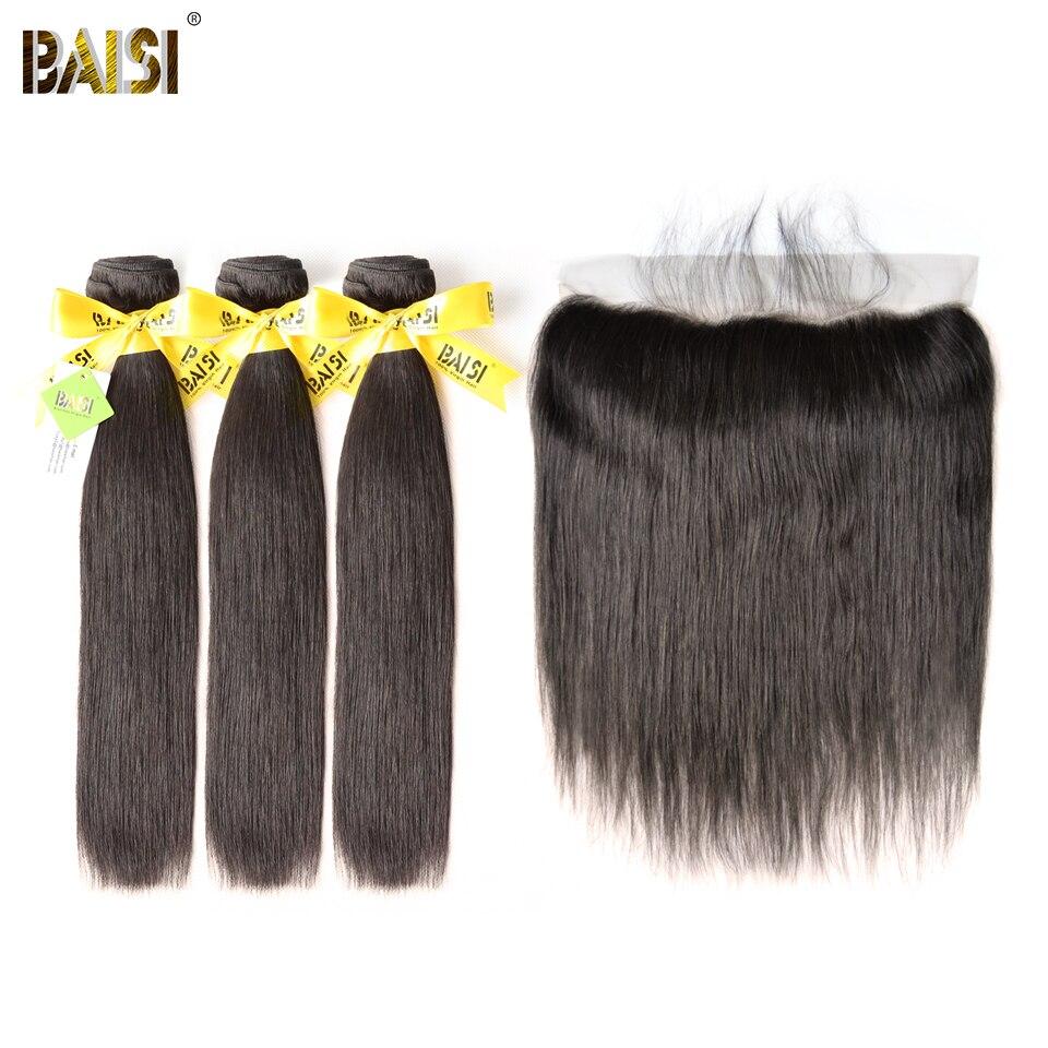 BAISI волосы бразильские Виргинские прямые волосы 100% необработанные человеческие волосы 3 пучка с фронтальной