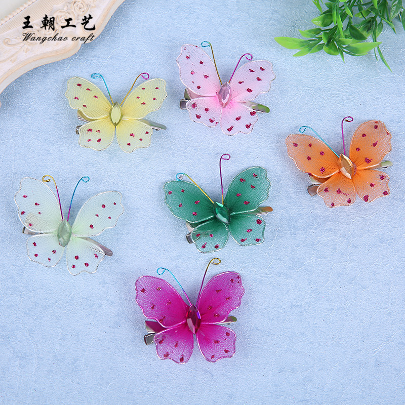 12pcs/lot 6cm Nylon butterflies Clips wedding decoration butterfly birthday Party DIY decoration baby shower gift 6 colors