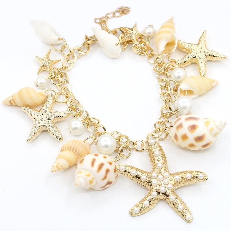Ocean Style gold metal Chain Multi Starfish Sea Star Conch Pearl Shell Bracelet Summer Beach Accessories Adjustable Bracelet