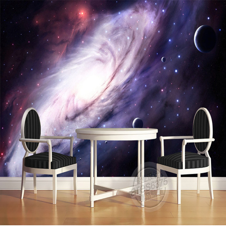 charming bedroom wall art stickers | 3D Purple Galaxy wallpaper for bedroom Charming Wall Mural ...
