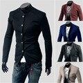2015 Nuevo Estilo Coreano de La Manera de la Llegada traje homme Hombres Sólido Soporte de Cuello Slim Fit Suit Blazer Chaqueta terno masculino MBL044