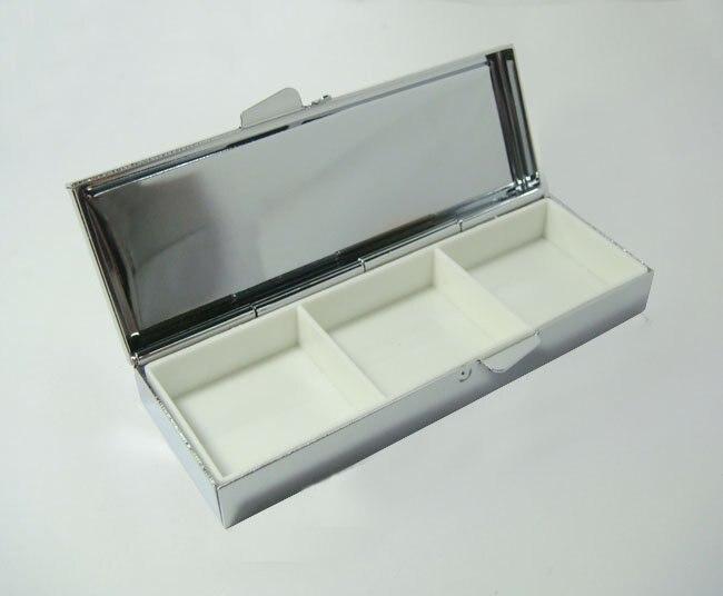 100 шт коробка для таблеток Серебряные Пустые прямоугольные металлические контейнер для таблеток