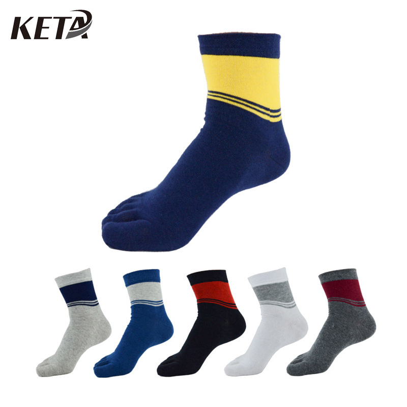 KETA Fashion Colorful Men Socks Striped Plaid Five Finger Toe Socks Cotton For Male Breathable Dress Socks 6Pairs/lot