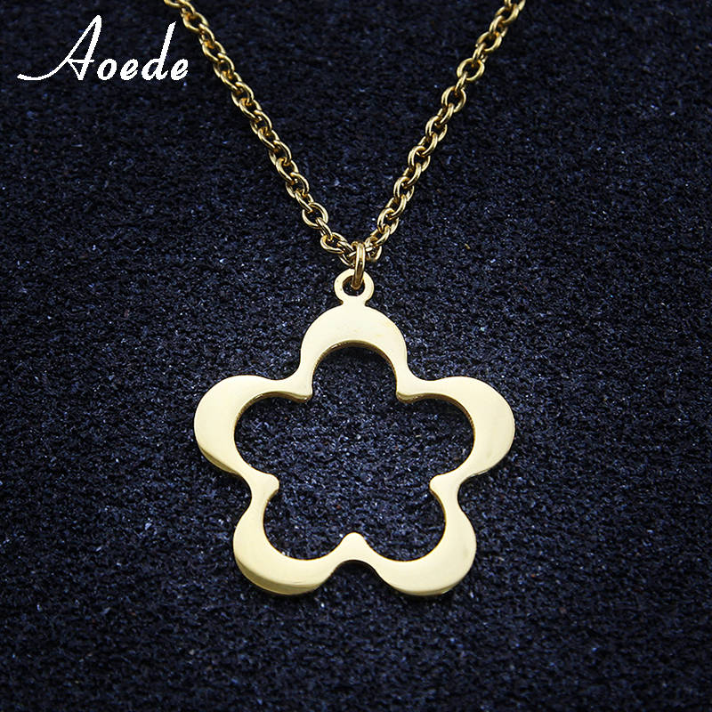 Hollow Flower Women Stainless Steel Chain Grils Fashion Necklace For Women Accessories Neck Jewelry Collares Elegant Gift