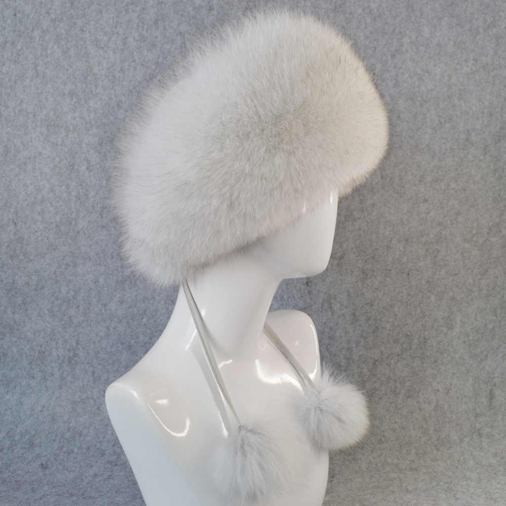 9502682c2e32b ... 2019 Women Natural Real Fox Fur Hat Winter Ushanka Bomber Cap Russia  Snow Wind Thick Warm ...