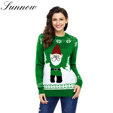 SUNNOW Navidad feo suéter de la impresión de las mujeres de punto Otoño  Invierno jersey de corte Slim de manga larga para mujer . 2b3612a45f01