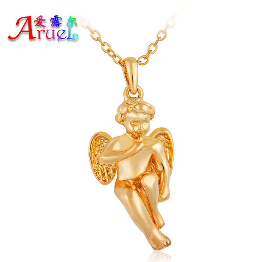 classic gold color chain angel wings necklace kids men fashion jewelry Cupid lover necklaces pendant women Valentine's gift