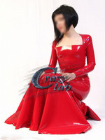 Crazy club_Dress Women Latex long gowns for women Autumn spring Sexy Party Vestidos Red Sexy customize Celibrity Dresses Sale