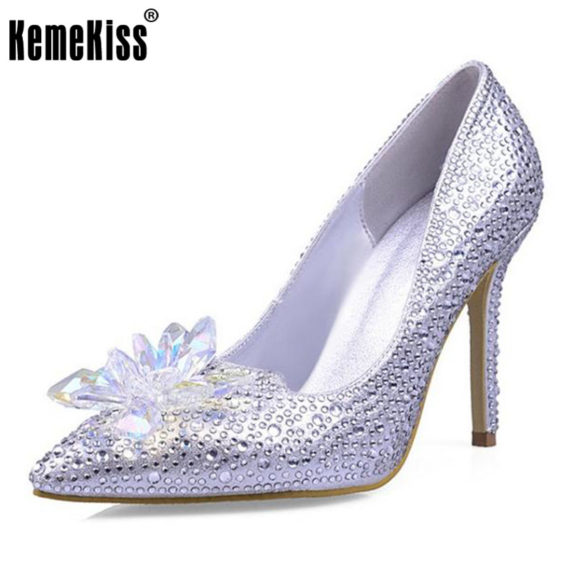 KemeKiss lady genuine leather brand cinderella shoes women pumps pointed toe high heels shoes woman wedding shoes size33-40 s 20 mini football shaped 2 0 ch speaker w fm tf yellow translucent blue black 16gb max