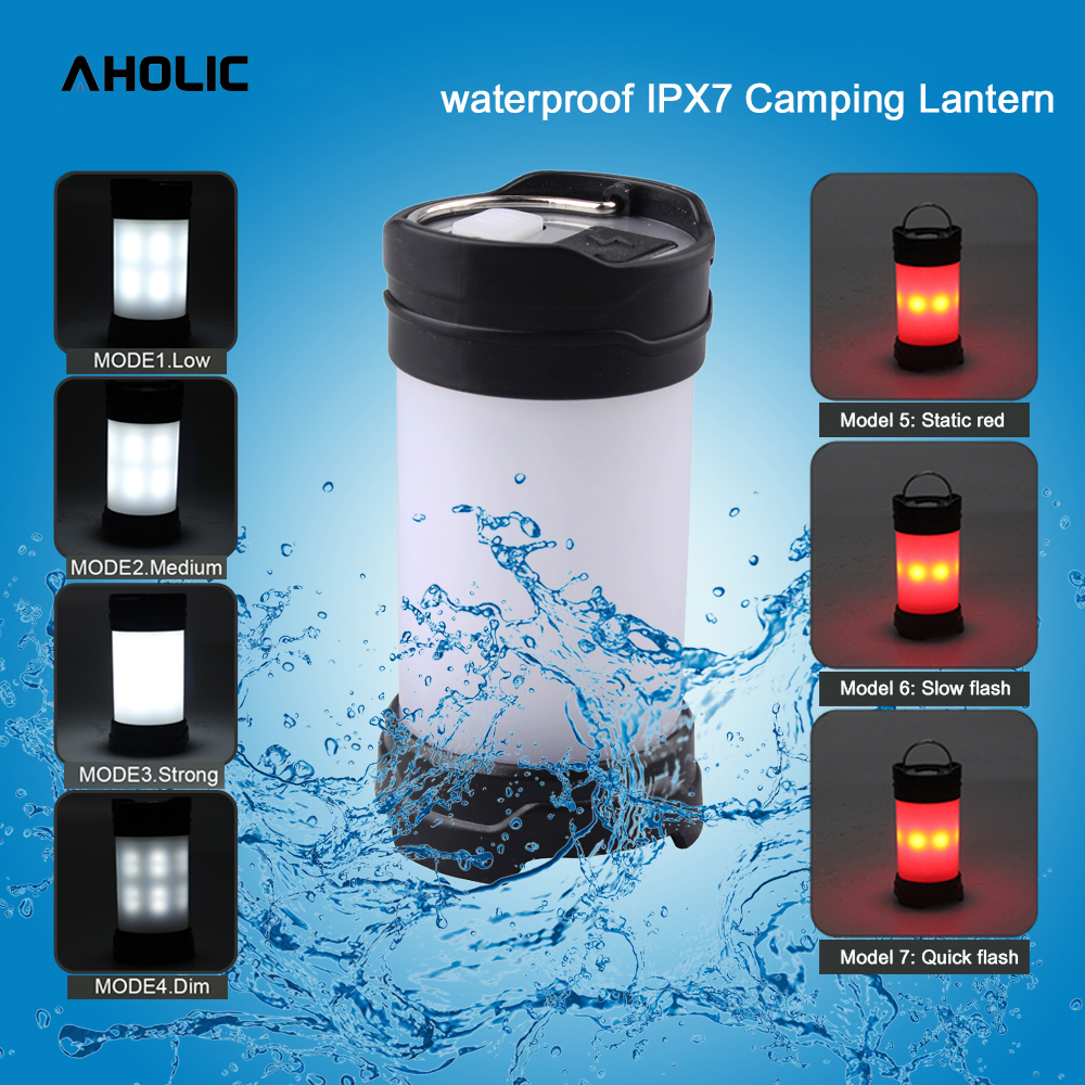 Max 350Lumen Camping Light 18650 Battery Portable 7 Model Bright Tent Lantern Lights Water Resistant Campsite