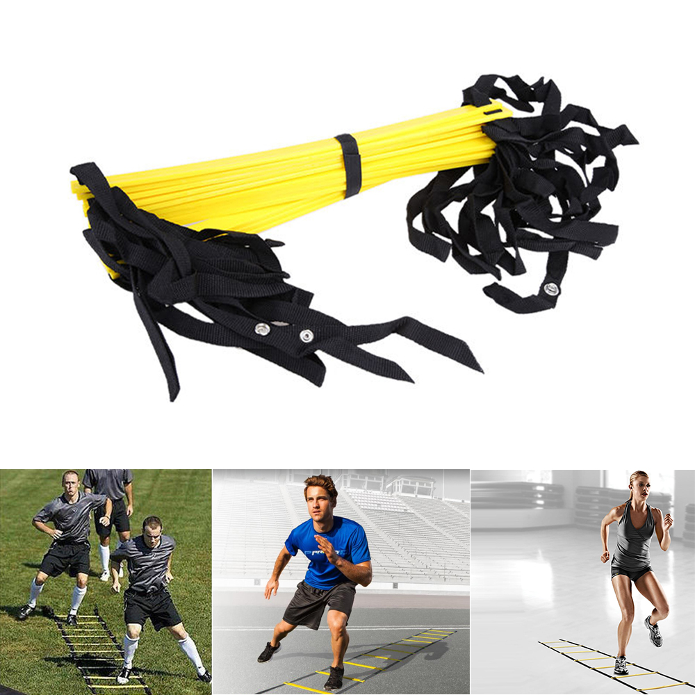 Hot Sealling 12 Rung 6M Football Training Speed Agility Ladder Black Straps Training Ladder Step Soccer Accessories