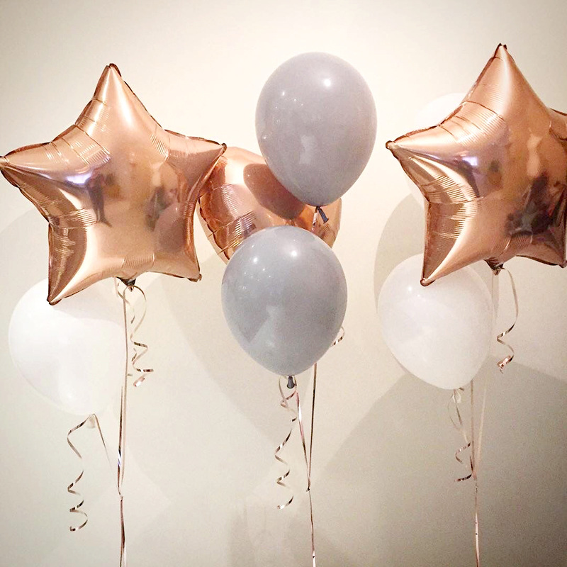 18 quot rose gold heart star round aluminum foil balloon birthday party decoration gradient rainbow aluminum foil balloon in Ballons amp Accessories from Home amp Garden