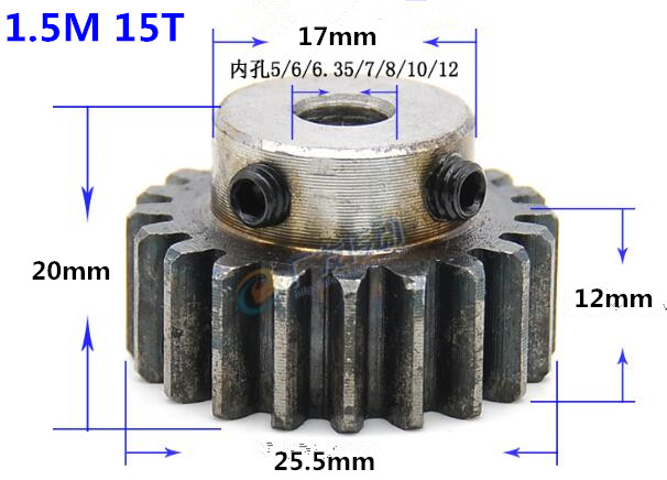 2pcs Spur Gear pinion 1.5M 15T 1.5mod gear rack 15 teeth bore 5/6/6.35/8/10/12mm 45teel pinion teeth high frequency quenching spur gear pinion 2m 15t 2 mod gear rack 15 teeth bore 12mm keyway 4mm 45 steel cnc rack and pinion