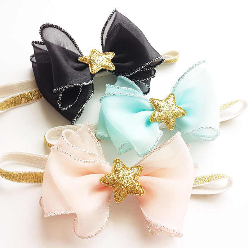 10pcs/lot Glitter Gold Star Organza Hair Bow Stretchy Head Band Black Blue and Peach Birthday Party Elastic Hairbands Gift Band