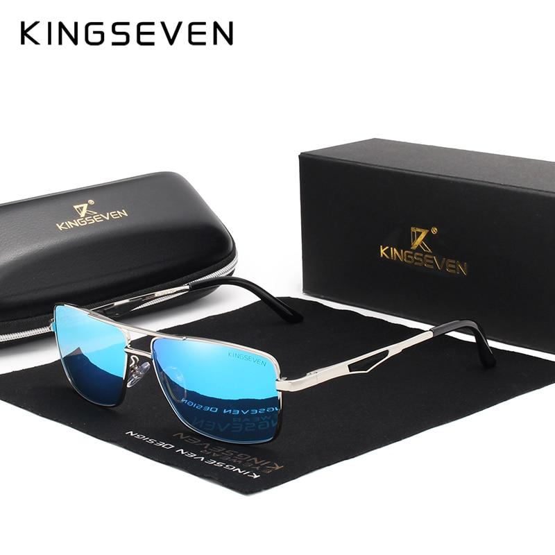 ce00dc885641 KINGSEVEN Brand Classic Square Plastic Polarized Men Sunglasses Men s Sun  Glasses Driving Fishing Aluminum Eyewear N7906