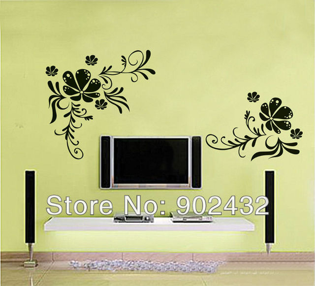 Flowers Wall stickers Giant Wall Decals Removable PVC Home ...