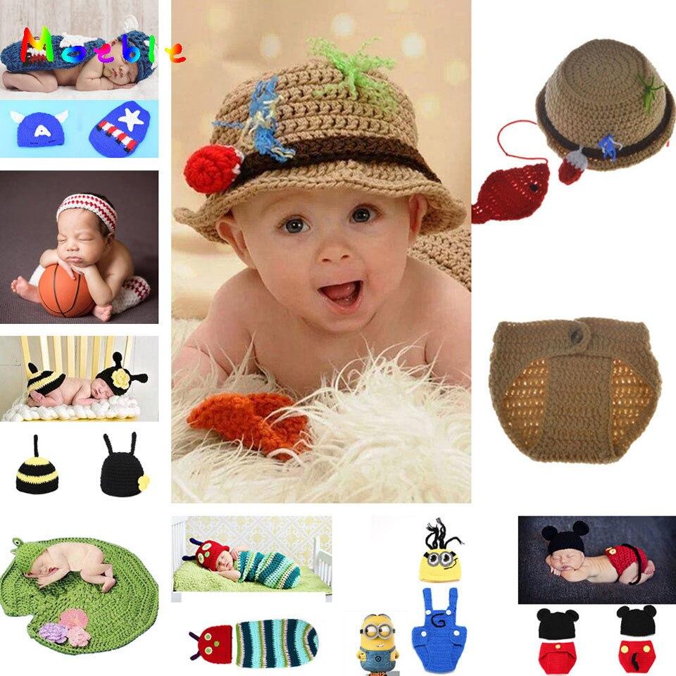 โครเชต์เด็กแรกเกิดทารกหมวกชาวประมงหมวกและกางเกงชุดเด็กโครเชต์ Photo การถ่ายภาพ Props ทารกชาวประ...