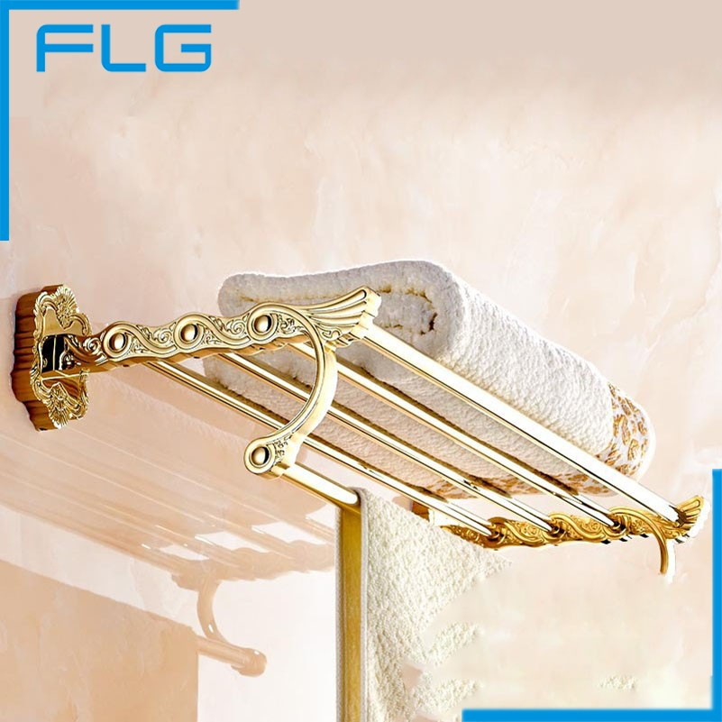 Wall Mounted Gold Plating Bath Towel Holder Towel Shelf Solid Brass Creative Design Towel Rack