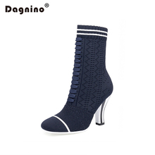DAGNINO 2017 Autumn Winter New Knitted Stretch Socks Boots Warm Wool Plush 9CM High Heel Women Shoes Damski Boty Tacones Mujer
