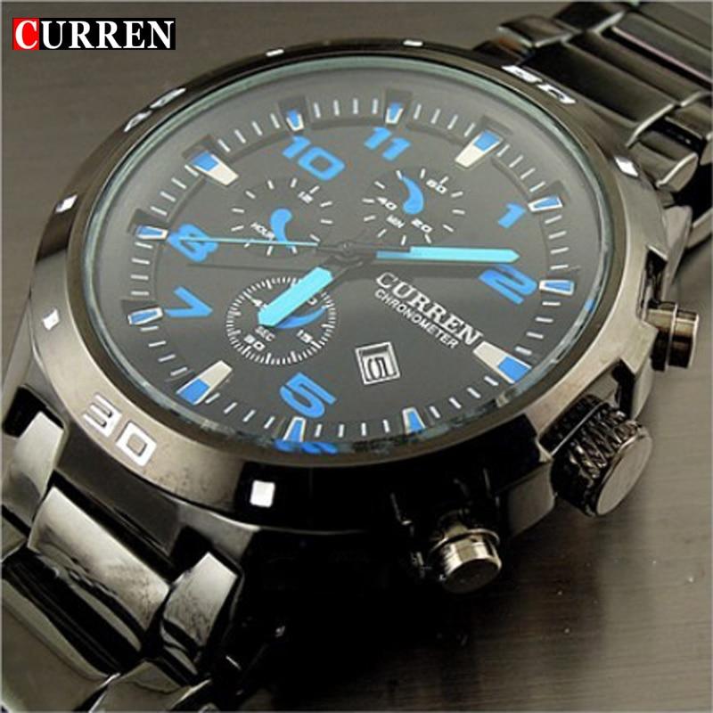 Curren marca moda reloj de acero inoxidable Militar Hombre Deporte de cuarzo reloj impermeable Relogio Masculino