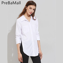 2019 Fashion High Fork Women Blouses Tops V Neck Solid Button Turn Down Collar Blouse Shirt Casual Woman's Slim Clothing C209 все цены