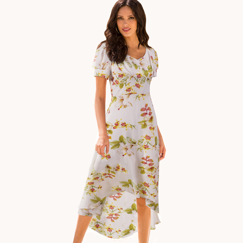 Fresh Natural Beauty Floral Print Chiffon Short Sleeve Sundress Sweet Mid-Calf Irregular Hemline Women Holiday White Dress B308
