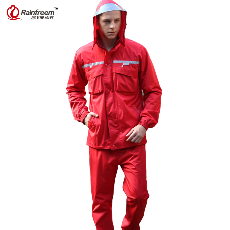 Rainfreem Impermeable Raincoat Women/Men Hood Rain Poncho Waterproof Rain Jacket Pants Suit Rainwear Men Motorcycle Rain Gear