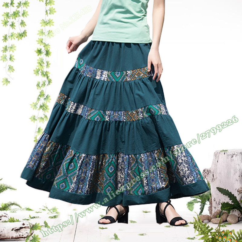 2018 Cotton Linen Casual Vintage Pastoral Style Green Floral Pattern Stitching Pleated Female Long Maxi Skirts Womens