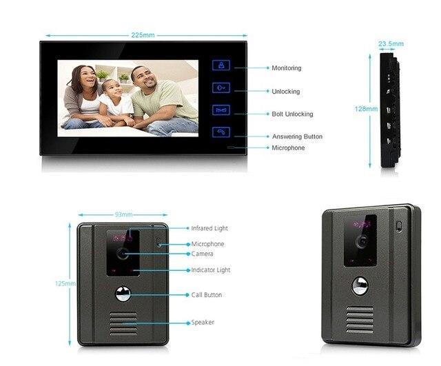 7 inch Color Video Door Phone Intercom Doorphone Kit Outdoor IR Night Vision Camera  Touch-key Intercom Monitor video doorbell